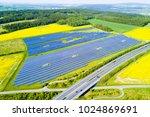 aerial view of solar power... | Shutterstock . vector #1024869691