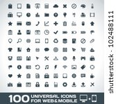 100 universal outline icons for ... | Shutterstock .eps vector #102488111