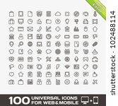 100 universal outline icons for ... | Shutterstock .eps vector #102488114