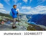 best norway hike. cute boy with ... | Shutterstock . vector #1024881577