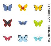 Butterfly Icons Set. Flat Set...