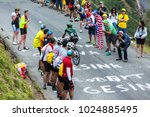 Small photo of Col du Glandon, France - July 24, 2015: The French cyclist Yohann Gene of Europcar Team,climbing the road to Col du Glandon in Alps, during the stage 19 of Le Tour de France 2015.