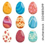eggs painted happy easter... | Shutterstock .eps vector #1024885699
