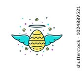 holy easter egg with wings and... | Shutterstock .eps vector #1024889521