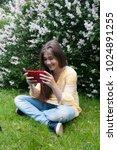 beautiful teenager girl with... | Shutterstock . vector #1024891255