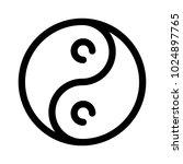 yin yang icon. outline modern...