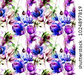 seamless pattern with stylized... | Shutterstock . vector #1024897819