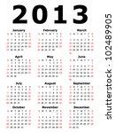 Simple 2013 Calendar  Eps 10