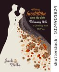 floral wedding invitation with... | Shutterstock .eps vector #1024901824