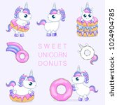 set of cute baby unicorns... | Shutterstock .eps vector #1024904785