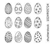 easter egg vector collection in ... | Shutterstock .eps vector #1024905724