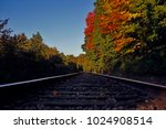autumn railroad tracks leaves... | Shutterstock . vector #1024908514