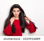 beautiful young woman with long ... | Shutterstock . vector #1024926889