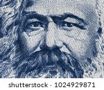 karl marx portrait on east... | Shutterstock . vector #1024929871