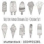 set of hand drawn ice creams.... | Shutterstock .eps vector #1024931281