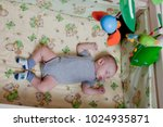 new born child in wooden co... | Shutterstock . vector #1024935871
