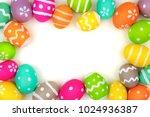 colorful easter egg frame... | Shutterstock . vector #1024936387