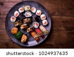 sushi set nigiri and rolls... | Shutterstock . vector #1024937635