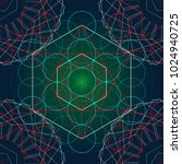 seamless trendy metatrons cube  ... | Shutterstock .eps vector #1024940725