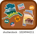alaska  alabama travel stickers ... | Shutterstock .eps vector #1024944211
