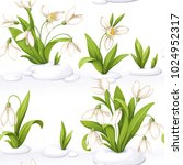 seamless pattern from snowdrop... | Shutterstock .eps vector #1024952317