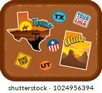 texas  utah travel stickers... | Shutterstock .eps vector #1024956394