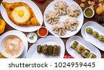 georgian cuisine foodset from... | Shutterstock . vector #1024959445