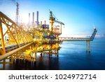 a huge yellow of offshore oil...   Shutterstock . vector #1024972714