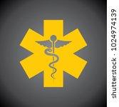 yellow caduceus icon on black... | Shutterstock .eps vector #1024974139