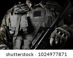 black and white soldier closeup ... | Shutterstock . vector #1024977871