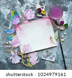frame watercolor flowers over... | Shutterstock . vector #1024979161