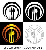 spoon knife and fork on an... | Shutterstock .eps vector #1024984081