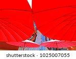 umbrella background   texture | Shutterstock . vector #1025007055