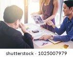 businessman show business plan... | Shutterstock . vector #1025007979