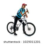 Small photo of Cyclist in blue t-shirt with bicycle drinking a water in silhouette on white background. Sport and healthy lifestyle