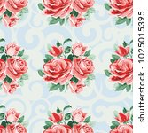 seamless floral pattern with... | Shutterstock .eps vector #1025015395