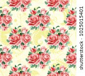 seamless floral pattern with... | Shutterstock .eps vector #1025015401