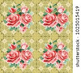 seamless floral pattern with... | Shutterstock .eps vector #1025015419