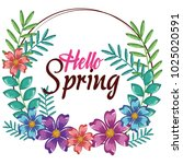 hello spring decorative design | Shutterstock .eps vector #1025020591