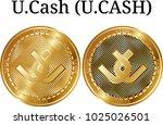 set of physical golden coin u... | Shutterstock .eps vector #1025026501