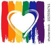grunge heart frame on rainbow... | Shutterstock .eps vector #1025036761