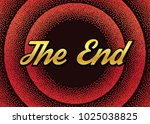 golden the end in red retro... | Shutterstock .eps vector #1025038825