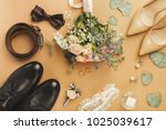 top view of bride and groom...   Shutterstock . vector #1025039617