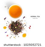 creative layout made of cup of... | Shutterstock . vector #1025052721
