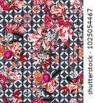 floral seamless pattern with... | Shutterstock . vector #1025054467