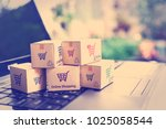 online shopping   ecommerce and ... | Shutterstock . vector #1025058544
