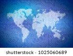 hi tech pixelated world map on... | Shutterstock .eps vector #1025060689