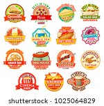 fast food burgers cafe or... | Shutterstock .eps vector #1025064829