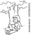 girl reading a book | Shutterstock .eps vector #1025065321