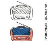 old radio. cartoon illustration ... | Shutterstock .eps vector #1025065705